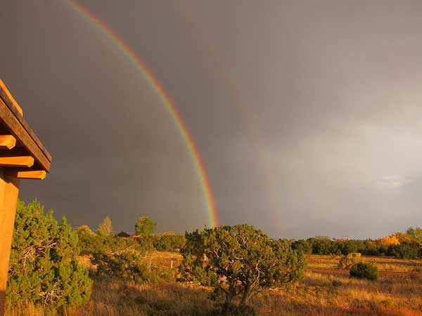 Double rainbow after summer storm